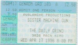 Ticket stub - Sister Machine Gun, April 17, 1006